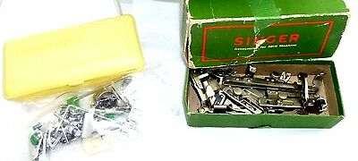 Vtg Singer Featherweight Sewing Machine Parts & Attachments 201K Boxe And More