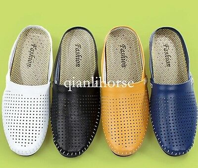 chic mens mesh breathable backless comfort round toe shoes sandals slippers lazy