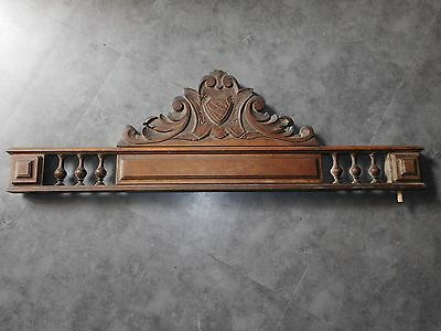 Grand Fronton Ancien  En Bois Sculpte D'un Blason  Long 92 Cm  F326 Restauration
