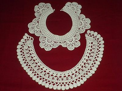 BEAUTIFUL VİNTAGE HANDMADE 2 pcs  CROCHET LACE BABY COLLARS