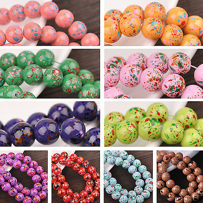 Lot Bulk 30pcs 10mm Multicolor Round Glass Loose Spacer Beads Jewelry Making DIY