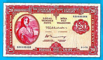 Ireland P67b 20 Pounds/Punt LAVERY Whitaker/Murray 6.1.1975 aVF+ FOR INVESTMENT