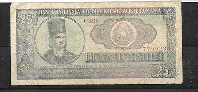 ROMANIA #95a 1966 vg USED 25 LEI OLD BANKNOTE BILL NOTE CURRENCY PAPER MONEY