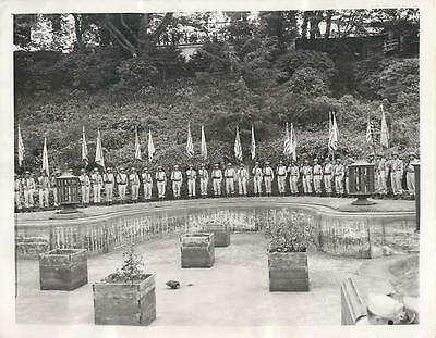WWII U.S. Troops at Flag Raising Ceremony at U.S. Embassy in Tokyo Press Photo