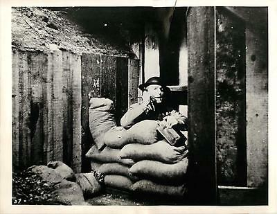 WWII British Sentry in Lookout Post along Coast of England Original Press Photo