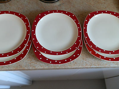 6 Vintage Midwinter Red Domino / Polka Dot Side / Small Dinner Plates Jessie Tai