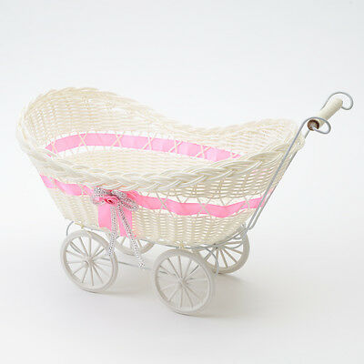 Dark Pink Wicker Hamper Pram Basket Girl Baby Shower Christening Gifts Storage