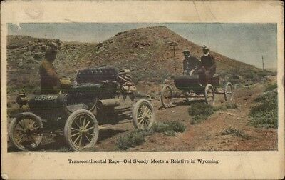 Transcontinental Race Old Cars Wyoming Mountains c1905 Postcard