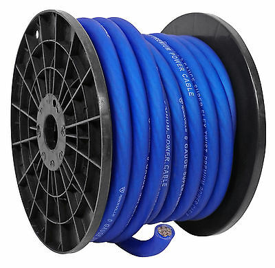 Rockville R0G50BLUE 0 Gauge 50 Foot Spool Blue Car Amp Power+Ground Wire Cable