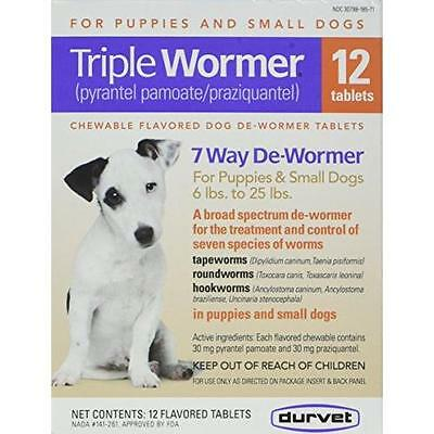 DURVET 12-Pack Triple Wormer Tablets for Puppies and Small Dogs New