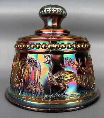 CARNIVAL GLASS - NORTHWOOD PEACOCK at the FOUNTAIN Amethyst Butter Lid 3791