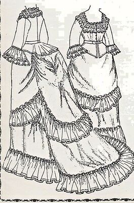 """19""""antique French Fashion Lady Doll Victorian Bustle Dress/gown&undies Pattern"""