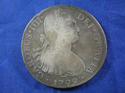 MEXICO - 1799 Mo FM Charles III silver 8 Reales CROWN - uncleaned original - VG