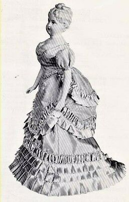 "16-17""antique French Fashion Lady Doll@1870 Bustle Ball Dress/bust Pads Pattern"