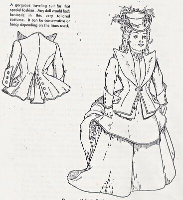 "24""antique French Fashion Lady Doll Traveling Suit/bustle Dress&jacket Pattern"