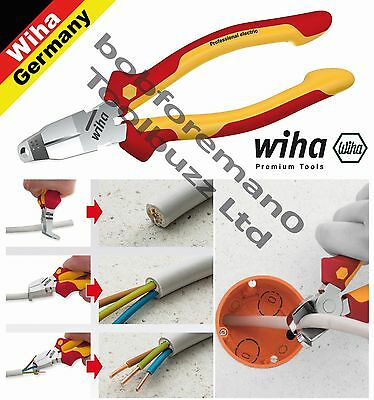 WIHA 38852 38853 VDE 1000V TriCut INSTALATION PLIERS COMBI CUTTING & STRIPPING