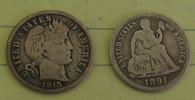1915s BARBER DIME & 1891 SEATED LIBERTY DIME !!!