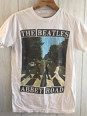 """Beatles White """"Abbey Road"""" Graphic Tee Shirt Mens Size Small Licensed Merch"""