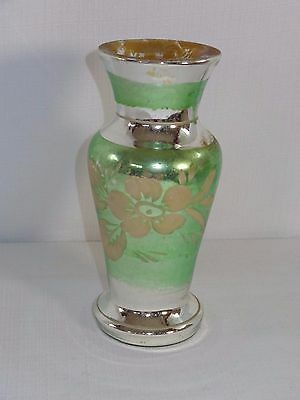 Antique Mercury Glass Green Silver & Gold Vase