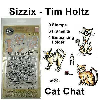 Sizzix Tim Holtz Dies Framelits Stamps And Embossing Folder Cat Chat