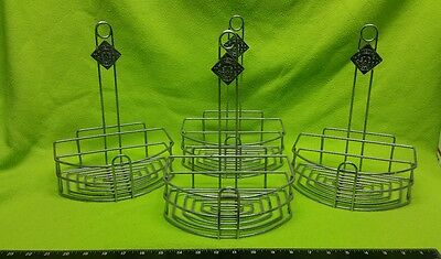 Lot of 4 Tabasco Chrome Metal Condiment Caddy Restaurant Table Menu Holder USED