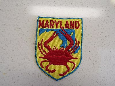 New Vtg Maryland Crab  Embroidered Patch Souvenir 123