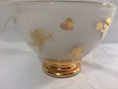 Gold Gilded Cupid 6 Inch Round With Heart's Frosted Bowl Very Good