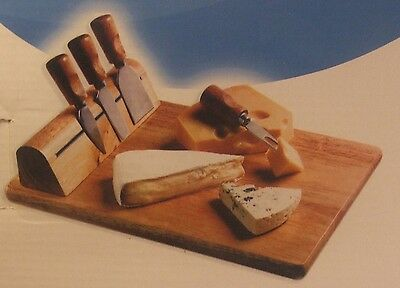 Cheese Board 3 Knives & Fork Magnetic Footed Rubberwood New in Box Never Used
