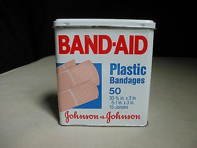 Band-Aid Johnson Metal Tin Hinged Box 50 Plastic Bandages Vintage Lithograph