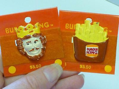 2 1980'S Vintage BURGER KING Pin THE KING & FRENCH FRIES RETRO Mint on Cards