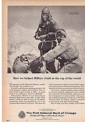1963 First National Bank Edmund Hillary Everest Expedition Print Advertisement