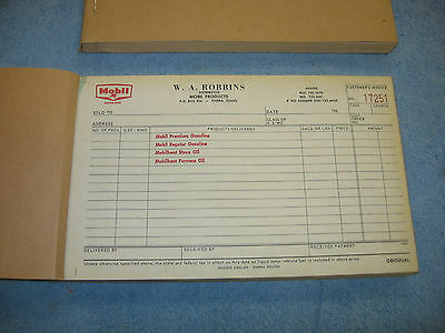 Vintage Mobil Oil Reciept Books From A Mobil Oil Distributor,lot Of 2,gas Oil