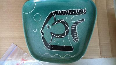 Modern Abstract  1950's Green Black Fish Platter Art Singed by Peterson  Art