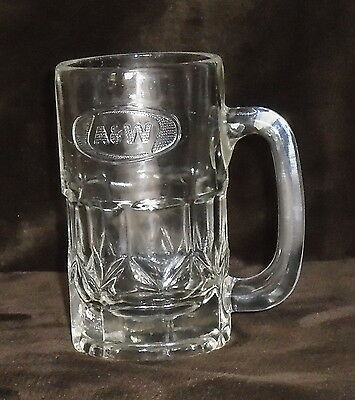 Classic A&w Root Beer Glass Embossed Raised Letters On Front Heavy 1.5C Capacity