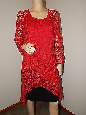 Indigo Soul Women's Red Lace Long Sleeve Blouse Size 2XL