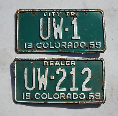 1959 Colorado License Plate Tags - Lot of 2