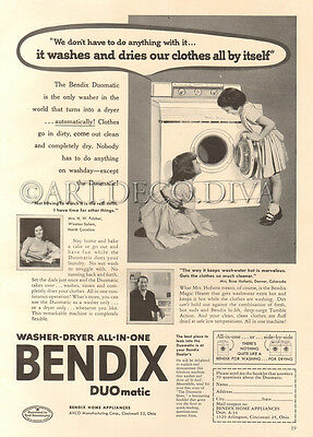 VTG 1950's Bendix DUOMatic All In One Washer Dryer Washing Machine Laundry Ad