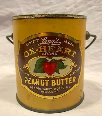 Vintage Ox-Heart Peanut Butter Tin Small
