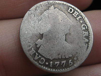 1775 Potosi Bolivia 1 Real- Silver, Carolus III, Old Colonial Coin