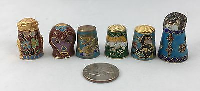 6 Diff Cloisonne Thimble Animal Group Frog, Monkey, etc...Excellent!