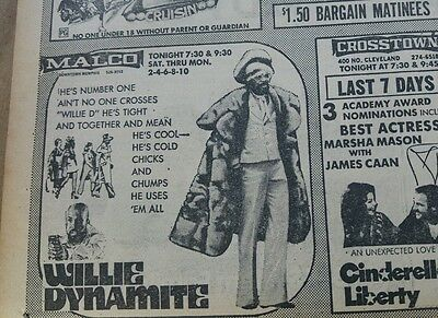 Mar 22, 1974 Newspaper #j5181- Shocking Movie Ads- Pimps, Fugitive Girls, Fritz
