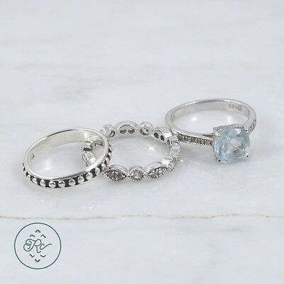 Sterling Silver | (QTY 3) Assorted Rings Blue Topaz Diamond Accent 7.7g | Lot