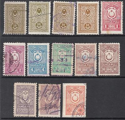 Turkey General Revenues 1929//60 13 diff used stamps with shades McDonald cv $14