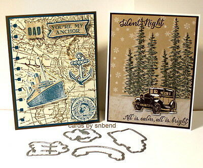 Guy Greetings dies by Dave & Stampin up Ribbon~use woodland world map
