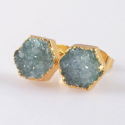 8mm Hexagon Agate Druzy Geode Stud Earrings Gold Plated T038601