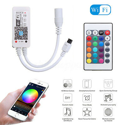 Mini Wifi LED Controller+ IR Remote For 5050/3528 RGB/RGBW LED Strip Light Phone