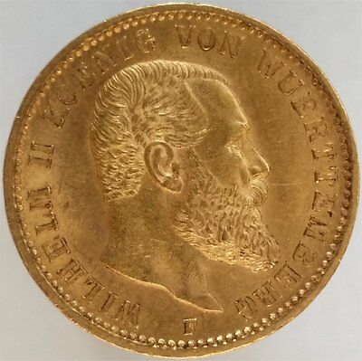 1900 Gold 20 Mark Germany-Wurttemberg, Scarce, Uncirculated