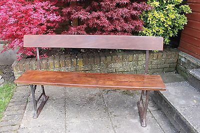REFURBISHED ANTIQUE SCHOOL/GARDEN BENCH GEO M HAMMER AND Co WITH IROKO TIMBER