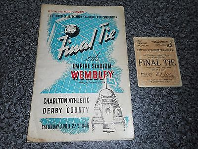 1946 F A CUP FINAL : CHARLTON ATHLETIC  v  DERBY COUNTY  ~ PROGRAMME + TICKET