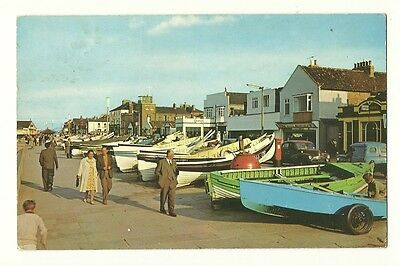 Redcar - a photographic postcard of Boats on the Promenade
